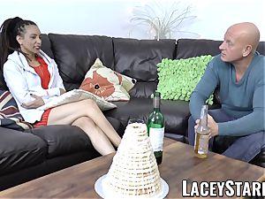 LACEYSTARR - black babe shares hard-on before internal ejaculation