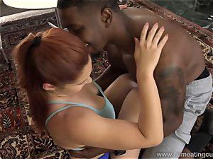 Edyn Blair humped By fat black salami husband observes