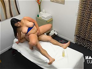 Hidden camera massage bed orgy