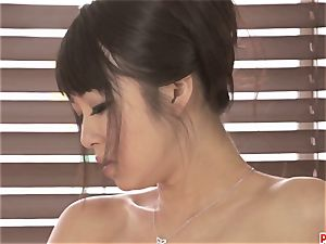 mind-blowing Kotomi rubbing and playing her moist and fur covered honeypot