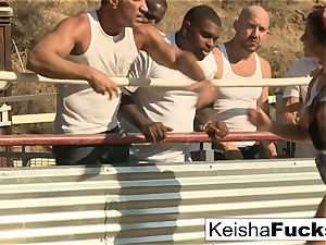 super-steamy babe Keisha is ready for her gang-bang