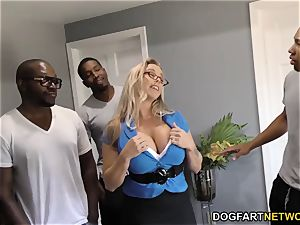 Amber Lynn Bach gets group-fucked and creampied by BBCs