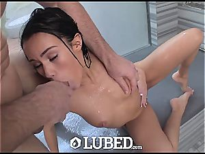 tiny ultra-cutie Megan Rain throwing and spinning on a massive pecker