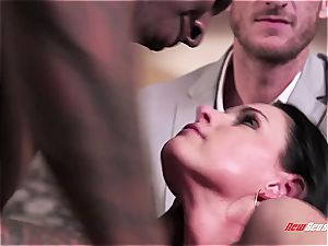 super hot wifey India Summer climaxing on a black pipe
