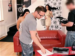 ExposedCasting - anal invasion 3 way audition with european honeys