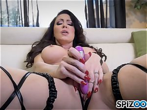 mischievous Jessica Jaymes slides a faux-cock in her humid minge