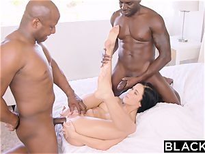 BLACKED molten Megan Rain Gets DP'd By Her Sugar parent and His friend