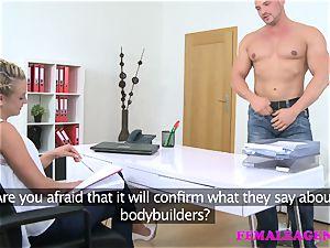FemaleAgent man sates agents wood eagerness