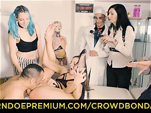 CROWD bondage obedient Amirah Adara first-ever time sadism & masochism