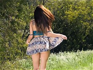 super mind-blowing Aidra Fox outdoor puss onanism