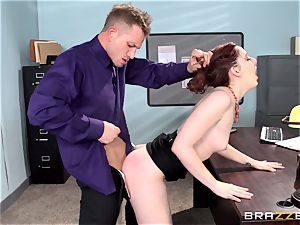 red super-hot assistant Ember Stone punished by her chief