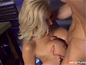 Vampiress Nina Elle bj's knob before nibbling her sub