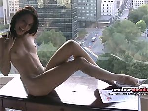 bony french Montreal porno star shows toned fit figure