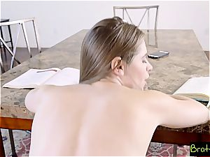 red-hot step-sister tortures her step brutha by fumbling his fat shlong