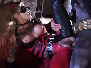 Kleio Valentien gives messy blow-job to a superhero