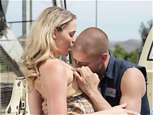 Mia Malkova gets plunged in her moist coochie outdoors