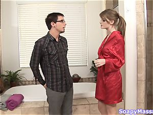 Smoking super-fucking-hot ginger-haired Faye Reagan gives a soapy massage