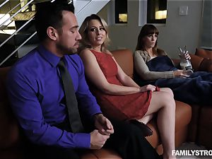 Zoey Monroe sits her vulva on her stepdads jizz-shotgun