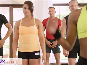 FitnessRooms perspiring cleavage in a apartment total yoga honies