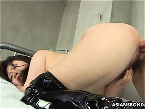 asian endures rough fingering and a nip torture