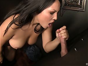 Adriana Luna gives a blowage to a manhood in a crevasse