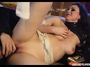 Tina kay has thick blast on her wondrous nice face from frankenstein