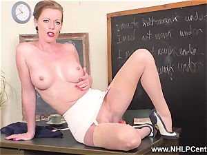 jizm on Miss Holly on desk in open girdle retro nylons