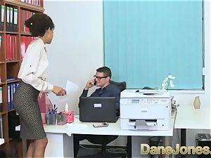 Dane Jones mind-blowing teenage dark-hued office doll