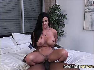 beans Jade riding a big black cock while her stepson witnesses