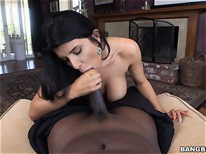 huge-boobed dark-haired Romi Rain thrashed by a masive black rod