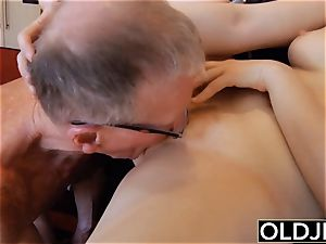 elderly young - Just revved legal babe pokes puckered aged dude