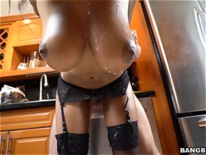 chesty Brittney milky nailed by a rock hard white beef whistle