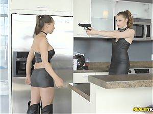 Anastasiya Hart and Elena Koshka making amends by eating muff