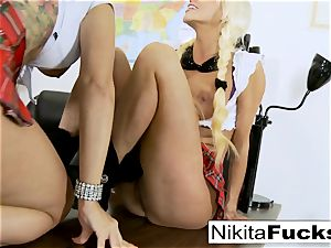 Classroom teasing leads to lezzie poking