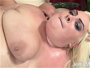 large ditzy blonde enjoys Taking a rock-hard man-meat