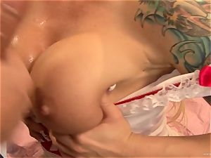 Brooke Haven gets her gullet stuffed with firm spunk-pump