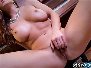 scorching fingerblasting poon activity with the cool dark-haired Abigail Mac