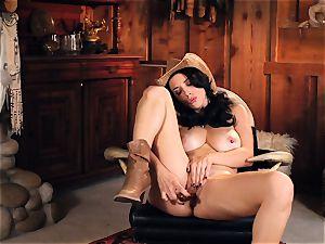 hot cowgirl Jelena Jensen toys her tasty gash