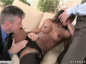 My black assistant takes my humungous cock in her backside