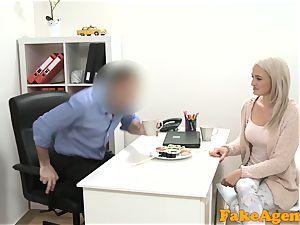 fake Agent super-hot light-haired model enjoys manhood over the desk