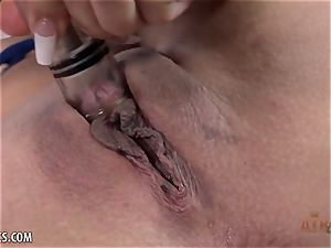 Michelle Martinez lubricates up her bean and plays with it