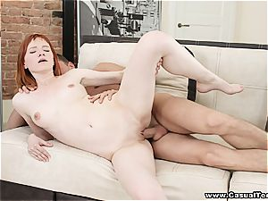 Her flamy red hair makes him spunk inside her