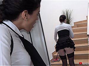Dyked maid flips steamy college girl cooch on her big strap-on