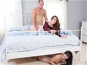 Gia Paige nearly caught by her momma Veronica deep throating her stepdads trouser snake