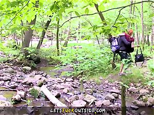 smallish redhead screwed in the forest