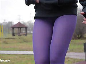 Jeny Smith instructing in her stockings