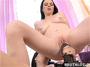 Mary catapults Blue Elis mouth and labia with a large fake penis