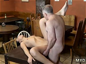 elder doctor tear up youthful spotted his parent and his girlpatron nude on a table in the middle of