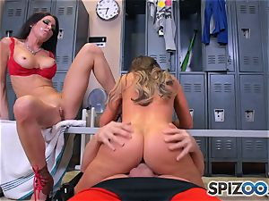 Nikki Benz and Jessica Jaymes bang man-meat in the locker room