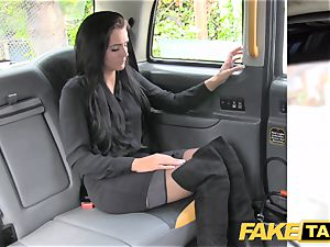 faux taxi brunette club dancer works her magic for ride